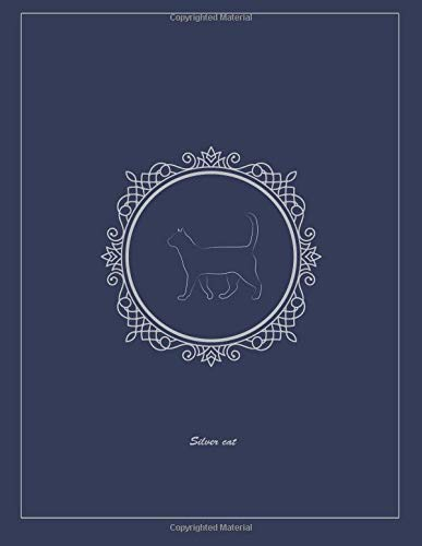 Silver cat: Dark slate blue Notebook, College Ruled, 8.5 x 11 inches, 110pages