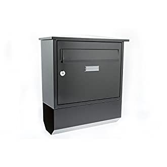 Sterling Itchen Steel Postbox with Newspaper Holder - black
