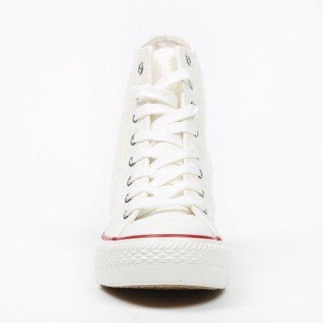 Ideal Shoes - Baskets montantes et compensées effet froissé Teyla Blanc