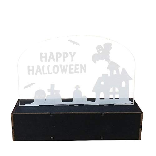 LED Halloween Dekoration Holz Spukhaus Hexe Kürbis Mann Geformte Lichter Beleuchtet Handwerk Home Festival Party Dreidimensionale Ornament (Dekoration Halloween-kürbis Beleuchtete)