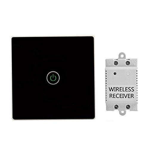 TSSS Hause Büro Schwarz 1-Wege Funk Touch Schalter mit Empfänger Kit mit LED Anzeige Licht - Fernbedienung Multi-Einheit Lampen - Crystal Glasscheibe Touch Lichtschalter - Belastbarkeit Max 1100W