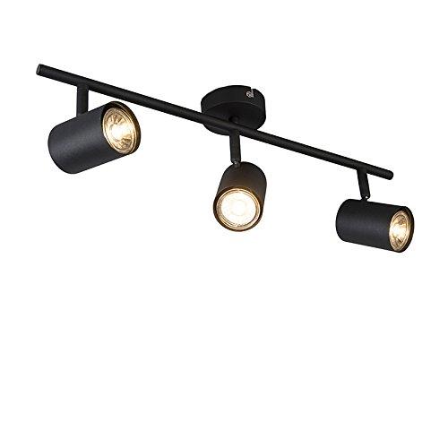 QAZQA Modern Spot/Spotlight/Deckenspot/Deckenstrahler/Strahler/Lampe/Leuchte Jeana 3-flammig Spotbalken schwarz/Innenbeleuchtung/Wohnzimmerlampe/Schlafzimmer/Küche Stahl Länglich L