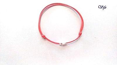 Bracelet Kabbale rouge, Cordon nœuds coulissants, Bracelet Porte bonheur, Bijou Homme Enfant Femme, Bracelet zen, argent 925, perles rondes/carrées argent sterling réglable 14.50 cm - 20.00 cm