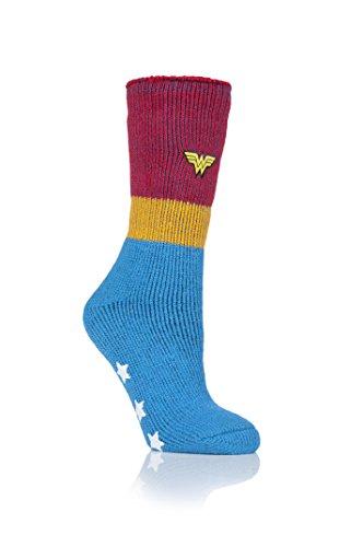 HEAT HOLDERS Damen 1 Paar SockShop Slippersocken DC's Wonder Woman - Blau 36-41