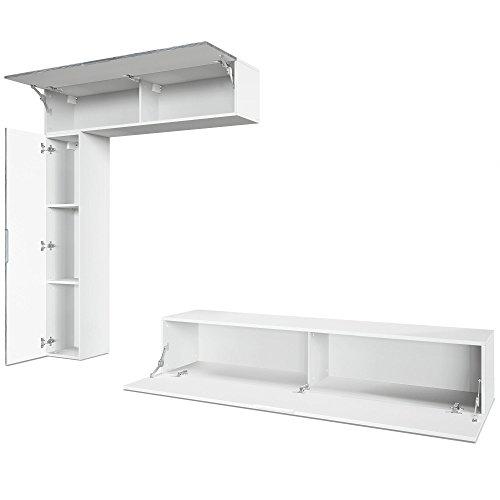 Wohnwand – Moderne Anbauwand in Weiß/Grau Bild 2*