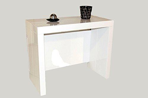 RDM Concept Table Console Extensible à 3 allonges intégrées Milano - Laqué Blanc Brillant 10 Couverts