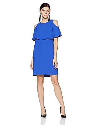 Van Heusen Women's A-Line Midi Dress (VWDR318M007945_Blue_Small)