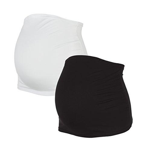 Herzmutter Bauchband für Schwangere | 2er-Set | Umstands-Schwangerschafts-Bauchbänder | Nierenwärmer-Shirtverlängerung für die Schwangerschaft | Einfarbig-Gestreift | 6000 (L, Schwarz|Weiß)
