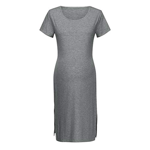 Einfarbig Umstandskleid Kurzarm, Schlank Casual Kleider für Schwangere Umstandsmode Wickelkleid Maternity Schwangerschaftskleid Freizeit Kleider Schwangere Blusenkleid
