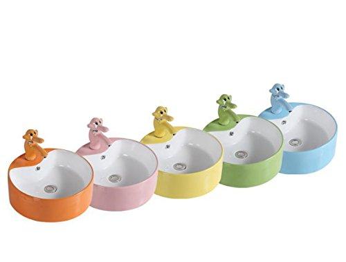 LaLF Europäischer Wasserhahn Keramikfarbe Waschbecken Wasserhahn gelb (Waschbecken Gelb)
