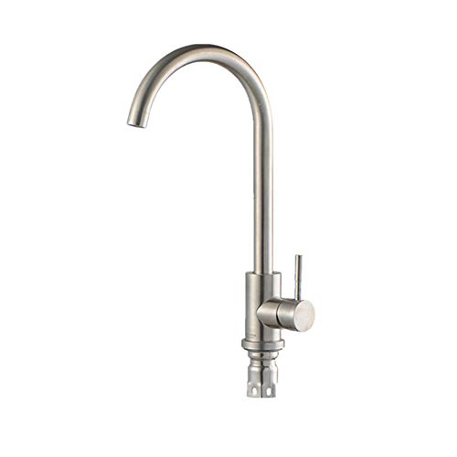 Syfinee Faucet 360 Rotation Kitchen Bar Stainless Steel Single Cold Hot Water Tap - Single-deck-control Valve
