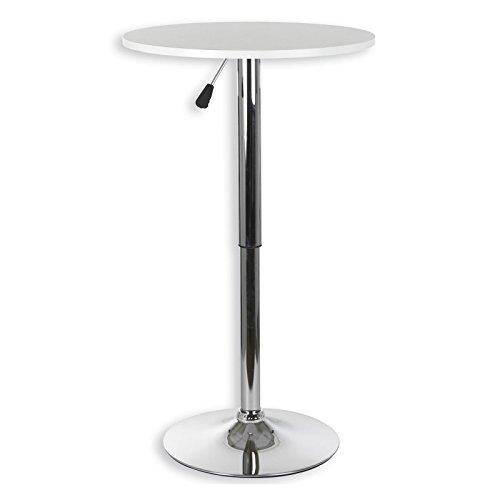 IDIMEX Table haute de bar mange-debout hauteur réglable MDF laqué blanc mat
