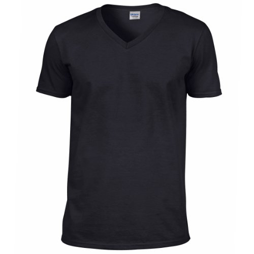 Gildan Soft Style T-Shirt mit V-Ausschnitt 64V00 Schwarz - Schwarz