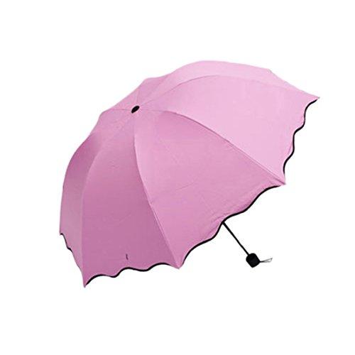 Tonsee 2015 schnüren neu nichtselbsttätigen Regenschirm Rain Frauen hübsch Flouncing Faltreifen weibliche Regenschirme Erwachsene Regenschirm (Hot Pink) Rosa