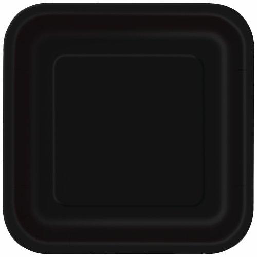 Unique Party - 32028 - Paquet de 16 Assiettes Carrées en Carton - 18 cm - Noir