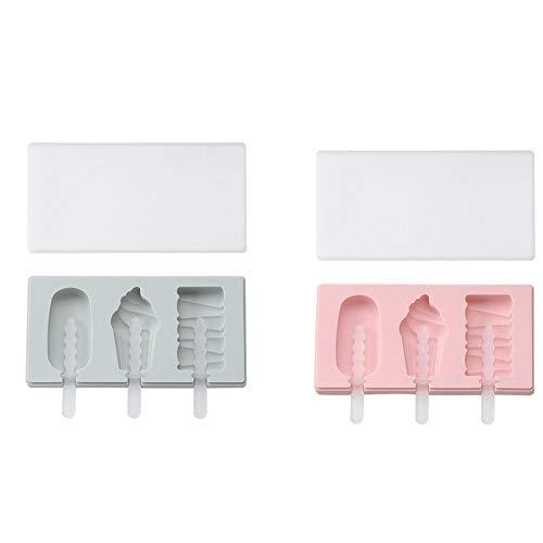 YZBear 2 stück Eisformen Silikon Formen für Popsicle, Eiscreme, Eislutscher EIS am Stiel DIY Molds für Bonbons Schokolade Joghurt, BPA Frei