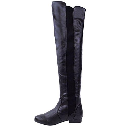 Donne elasticizzato gamba larga polpaccio stretch sopra il ginocchio aderenti, ALTI Basse Stivali motociclismo equitazione Scarpe Numeri Nero PU similpelle