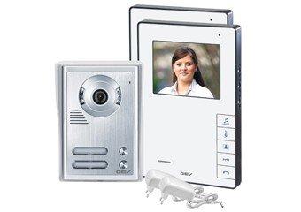 GEV 2- Familienhaus Video-Türsprechanlage CVB, 1 Stück, silber weiß, 88337