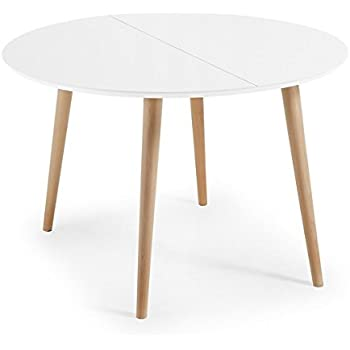 Table Ronde Scandinave Extensible.Table Ronde Extensible Style Scandinave Blanc Mat Hetre 120