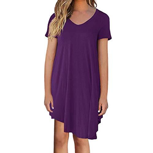 VEMOW Damenmode Tasche Lose Kleid Damen Rundhalsausschnitt beiläufige Tägliche Lange Tops Kleid Plus Größe(Z1-Violett, EU-42/CN-S)