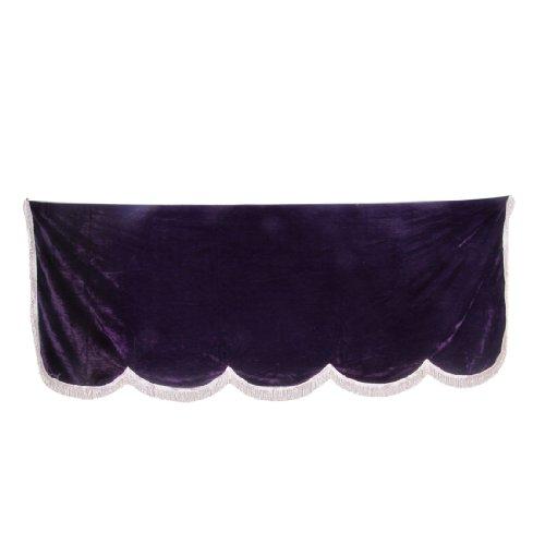 Como Tassel Decor Scalloped Edge Purple Pleuche Piano Half Cover 70.8 x 28.7