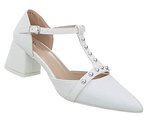 Damen Schuhe Pumps   Moderne High Heels   T-Strap Riemchenpumps   Slipper Spitz   Bequemer Blockabsatz   Trendy Abendschuhe   Weiß 41