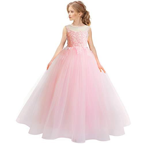 CQDY Blumenmädchen Spitzenkleider Hochzeit Brautjungfer Blumenmädchen Kleid Formale Party Pageant Prom Ballkleid Weihnachten Geburtstag Geschenke (6-7 Jahre, rosa)