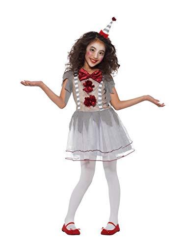 Kostüm Girl 46 Clown - Fancy Ole - Mädchen Girl Kinder Vintage Retro Clown Kostüm im Harlekin Style, Kleid mit Kopfschmuck, perfekt für Halloween Karneval und Fasching, 122-134, Hellgrau
