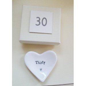 East of India 'Thirty' White Porcelain Heart Dish Gift - 30th Birthday Gift