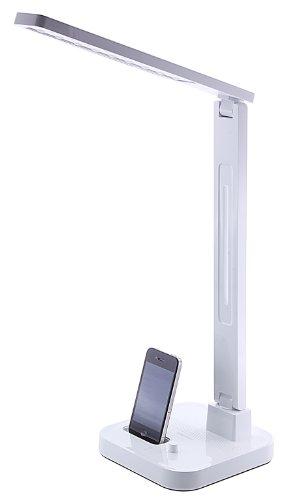 Diasonic LED-Tischlampe mit iPod Dock und Lautsprecher Kompatibel mit iPhone 3/3G/3GS/4/4S, iPod Touch 4. Generation und iPod Nano 6. Generation - Weiß - Nano Dock Ipod Lautsprecher Mit