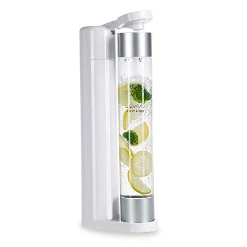 Levivo machine à gazéifier Slim Fruit & Fun, bouteille à gazéification 1L, Machine à Soda, Appareil à eau Pétillante, gaz pour eau, cocktails et autres boissons, Couleur blanc et argentée
