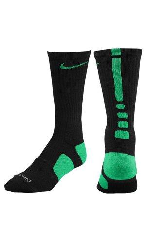Nike Crew Socks Hyperelite Basketball Black/Court Green/Court Green