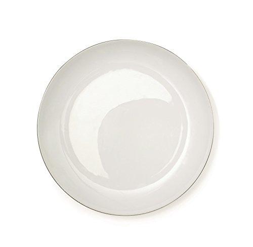 Excelsa Platinum Assiette Plate, Porcelaine, Blanc/Bord Argent, 27 x 27 x 1,5 cm