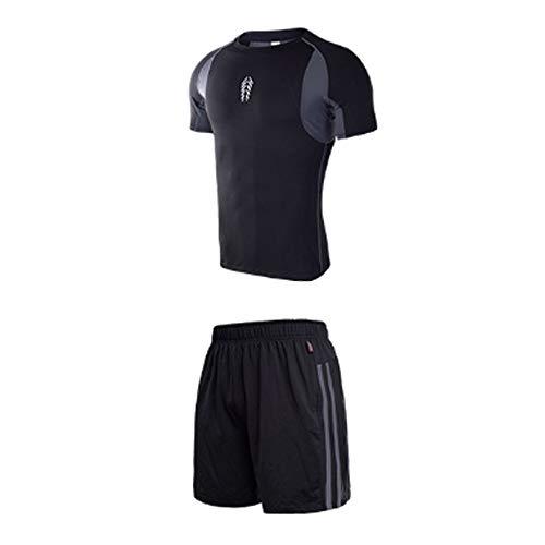 QJKai Sommer-Trainingsanzug Zweiteilige Stretch-Wicking-Fitness-Bekleidung tragen sportliche Trainingsanzüge für Männer