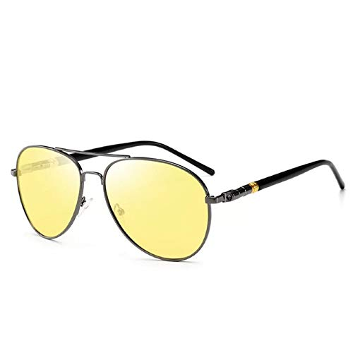 QTQHOME Polarisierte Sonnenbrille Für Männer Angeln,aviator Uv-schutz Classic Geeignet Für Unisex Radfahren Wandern-gun Frame Nachtsicht 14.1x13.9cm(6x5inch)