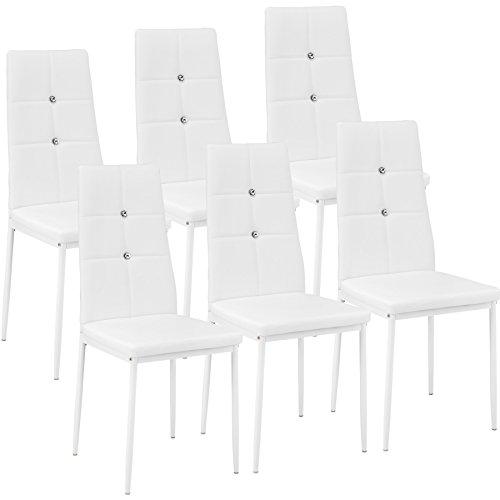TecTake Set di sedie per sala da pranzo 40x42x97cm | - disponibile in diversi colori e quantità - (6x bianco| no. 402543)