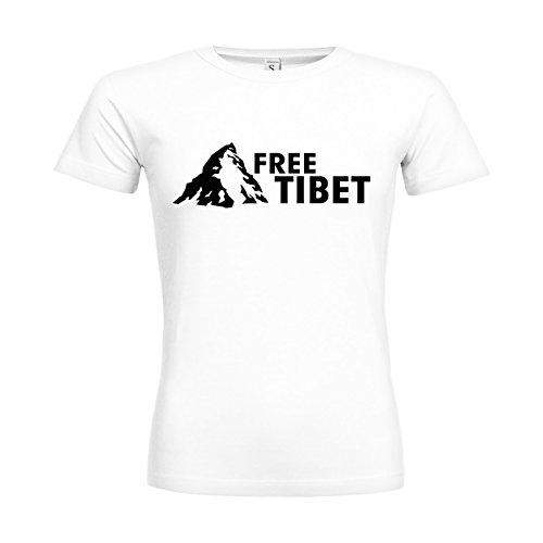 dress-puntos Woman T-Shirt Free Tibet 20drpt15-w00049-6 Textil white / Motiv schwarz / Gr. XXL (Schwarz Tibet Free T-shirt)