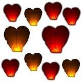 eSecure - 10 x Fliegende Himmelslaterne KHOOM Fay UFO Folienballon, Herzform, Rot