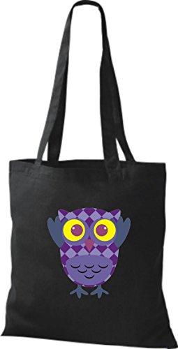 ShirtInStyle Jute Stoffbeutel Bunte Eule niedliche Tragetasche mit Punkte Karos streifen Owl Retro diverse Farbe, natur schwarz