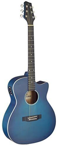 Stagg Cutaway - Guitarra acústica eléctrica para auditorio, color azul transparente