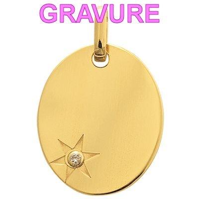 So Chic Gioielli - Ciondolo Misto - Oro Giallo 375/000 (9 carats) 0,80gr - Misure: 12 x 15 mm (hors bélière) - Medaglietta Ovale Stella Diamante 0,01ct - Personalizzabile : Incisione offerta