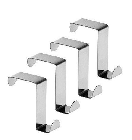 (fwehfefh Haken für Schrank- und Schubladenhaken, Metallhaken, Edelstahl, wendbar, 4 Stück)