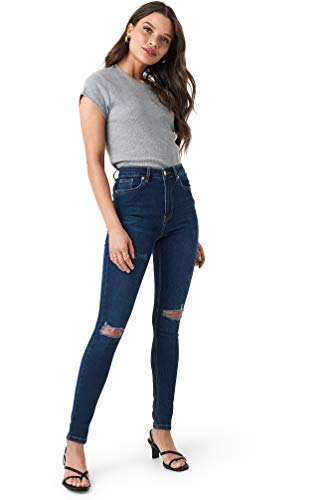 NA-KD - Damen Skinny High Waist Ripped Destroyed Jeanshosen Blau