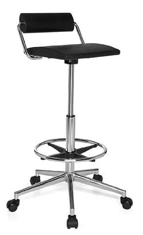 hjh OFFICE 665170 tabouret de travail, siège technique à roulettes TOP WORK 28 noir, siège pivotant sans accoudoirs avec petit dossier, piètement en acier chromé avec repose-pieds, hauteur de l'assise 60 -85 cm