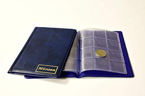 MC.Sammler Münzenalbum Münzalbum Taschenalbum mit 8 Münzhüllen für 108 Diverse Münzen (blau)