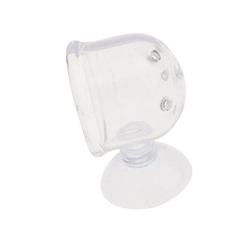MagiDeal Glas Topf Pflanze Tasse Inhaber Futterhalter mit Saugnapf Für Garnelen Aquarium Fisch Tank Wasser Feeder , Loch Deisgn