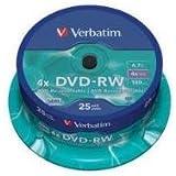 Verbatim 43639 4.7GB DVD-RW - Spindle 25 Pack
