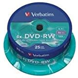 DVD-RW 4.7GB 4X 25PK SUPLSPINDLE SCRATCH RESISTANT