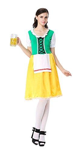 Honeystore Damen Halloween Kostüme The Munich Oktoberfest Dienerin Uniform Cosplay Allerheiligen Kleider für Oktoberfest Gelb XL (Dirndl Kostüm Mieten)