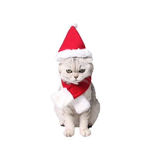 LnLyin Weihnachten Haustier Red Hat & Schal Weihnachten Pet Kostüm Set Cat Puppy Red Hat mit Schalldämpfer Mode Geschenk, L